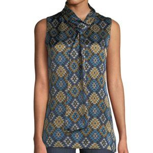 Lafayette Abbie Aztec Artistry Silk Tie Neck Top